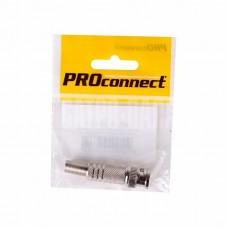 Разъем высокочастотный на кабель, штекер BNC под винт с пружиной, металл, (1шт.) (пакет) PROconnect (05-3073-4-7)